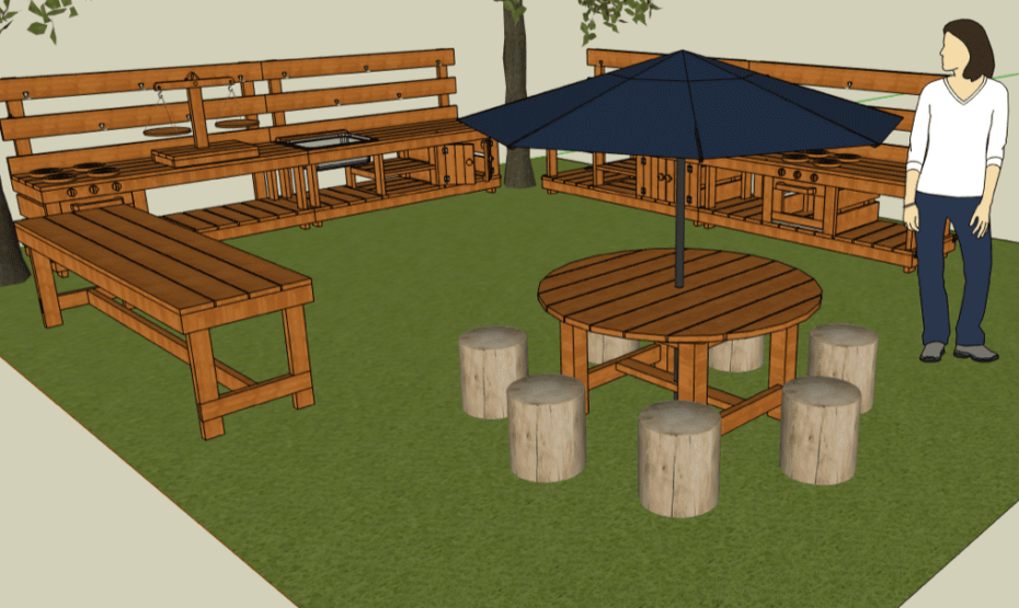 Romona School Mud Cafe - Round Table, Umbrella, Stump Chairs